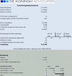 Voorbeeld berekening Excel